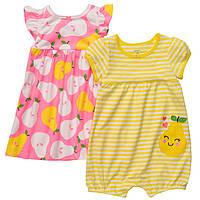 Летний комплект для девочки (платье и песочник) Carter's 6 месяцев, фото 1