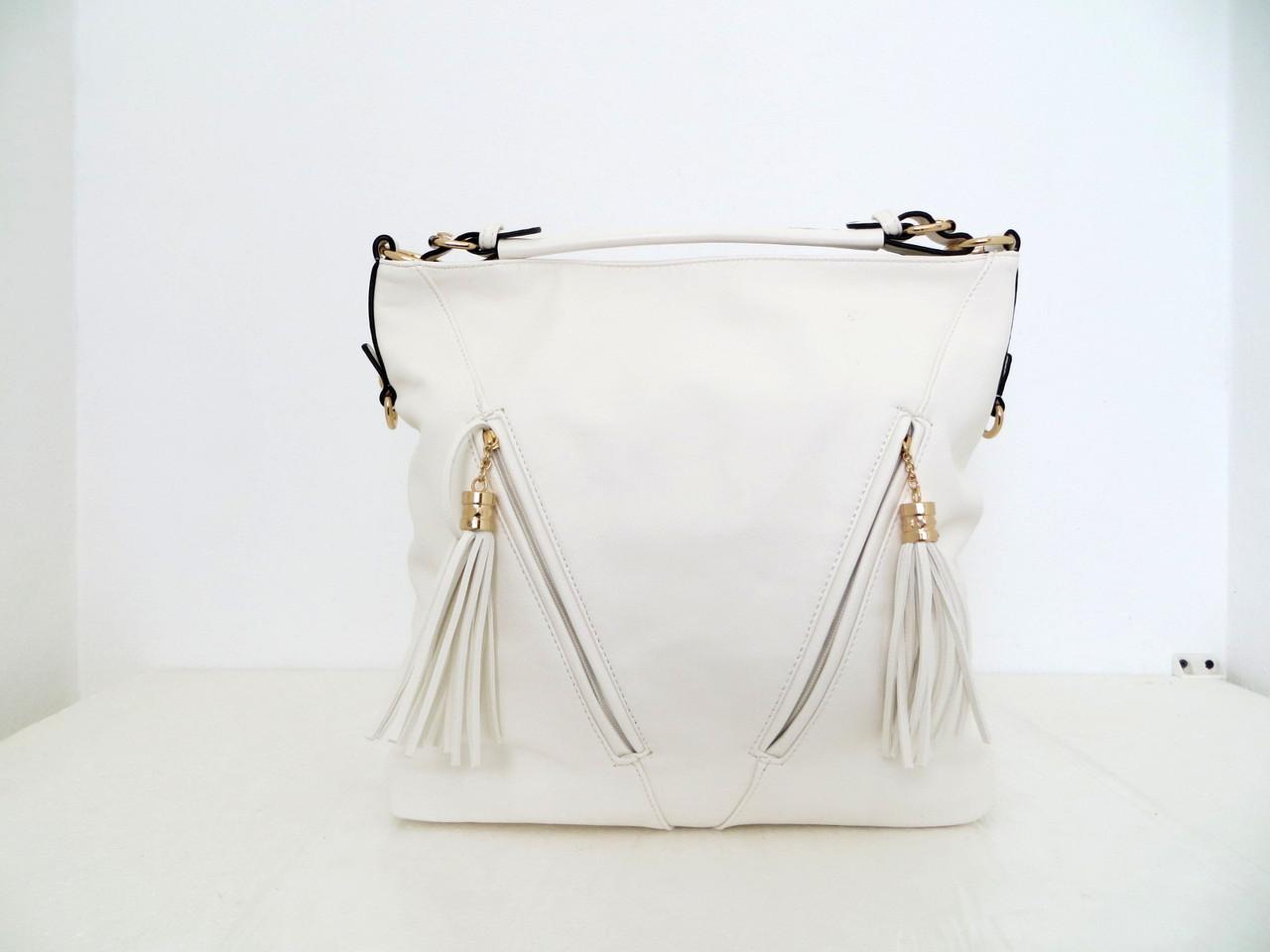 Вместительная летняя женская сумка. Эко-кожа Италия Белый