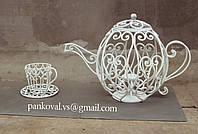 Чайник и чашка кованые, оригинальный декор для интерьера и экстерьера