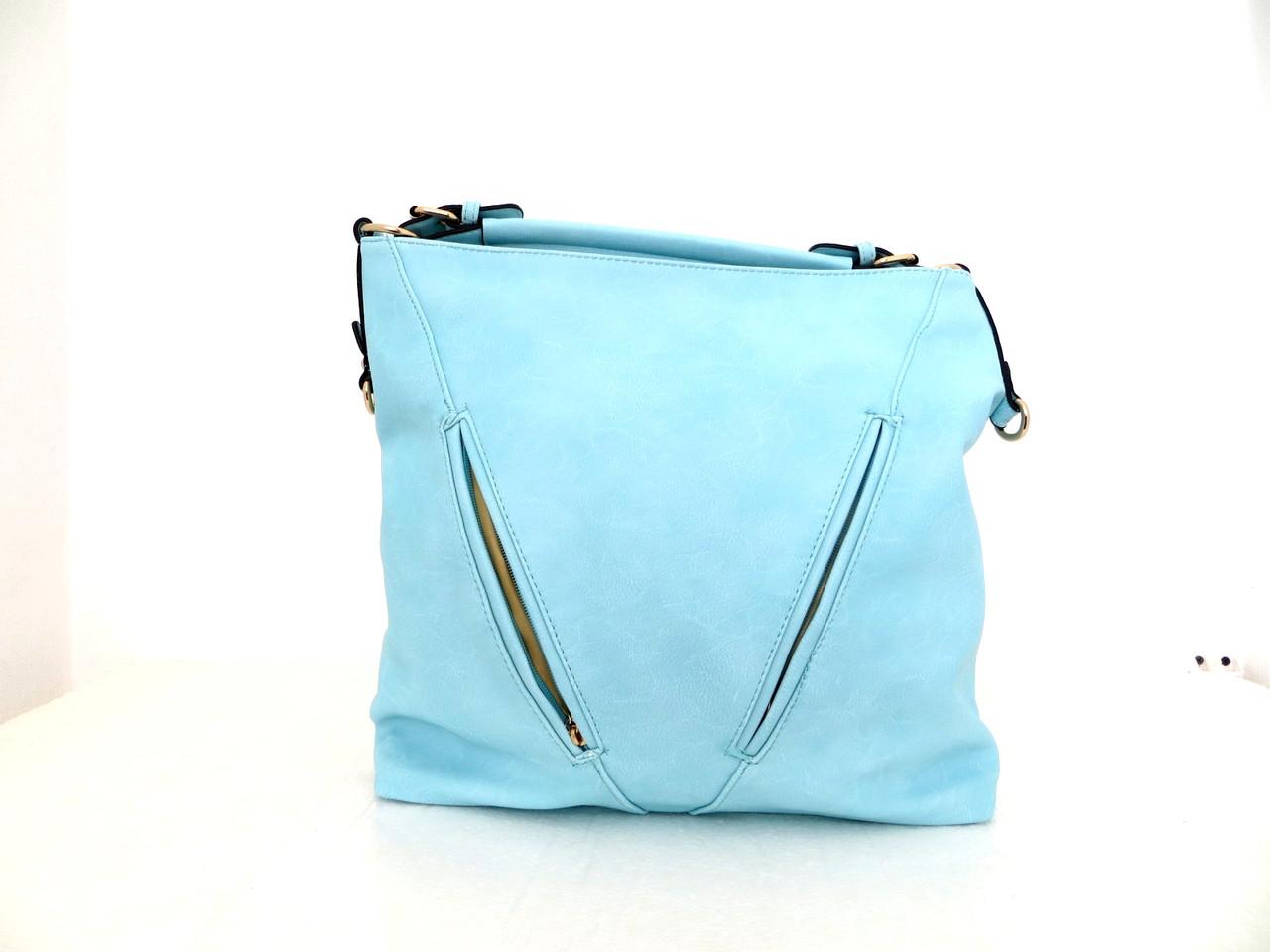 Вместительная летняя женская сумка. Эко-кожа Италия Бирюзовый, фото 1