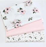 """Лоскут ткани """"Маленькие розовые гиацинты"""" на белом №1732с, размер 44*80 см, фото 3"""