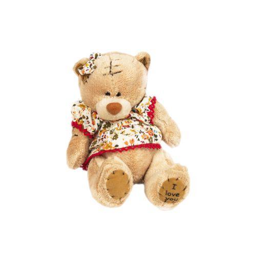 """Мягкая игрушка """"Мишка в платье"""" (бежевая) 1565-13"""