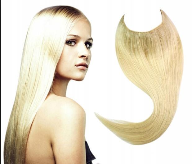Накладне волосся на волосіні,тресс холоднуватий блонд
