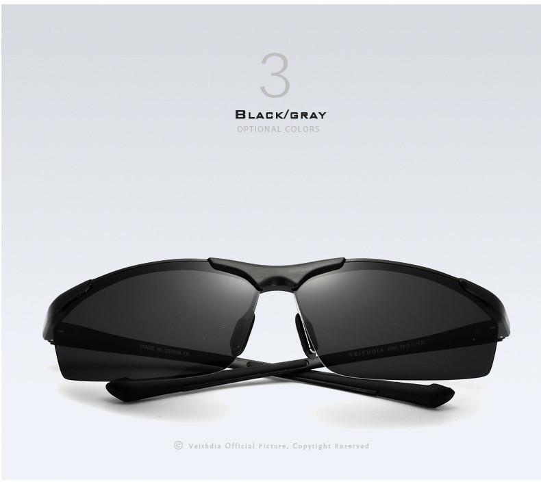 Очки мужские солнцезащитные поляризованные VEITHDIA. Черные линзы, черные дужки и оправа