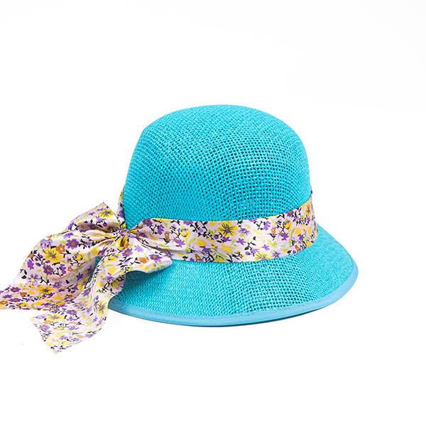 Бирюзовая женская  шляпка из плетеной соломки размер 56 57