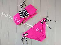 Раздельный малиновый купальник с полосатым бантом для девочки 10-16р