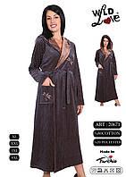 Велюровый  женский халат длинный на запах с капюшоном, фото 1