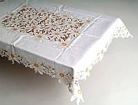 Скатерть на стандартный раздвижной стол 160*220 ажурная ромашка