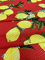 Ткань красный шифон-штапель с лимонами