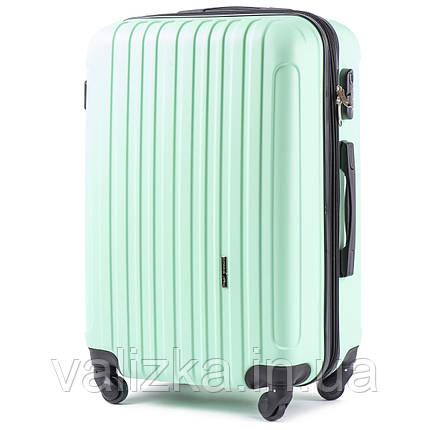 Великий пластиковий чемодан з полікарбонату з розширювачем Wings 2011 світло-зелений на 4-х колесах, фото 2