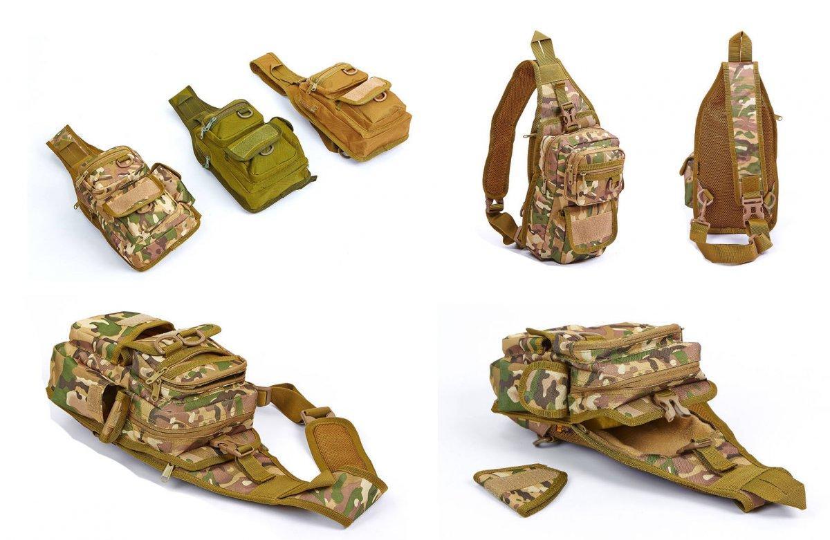 Тактический рюкзак однолямочный, с отделением под пистолет