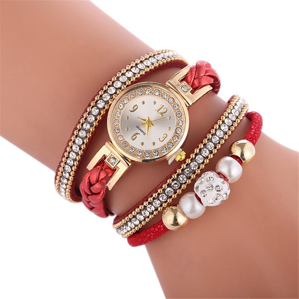 Женские наручные часы с красным ремешком код 478