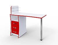 """Маникюрный стол M104 """"Элегант"""" c стеклянными полочками под лак  С 1 замочком на тумбе"""