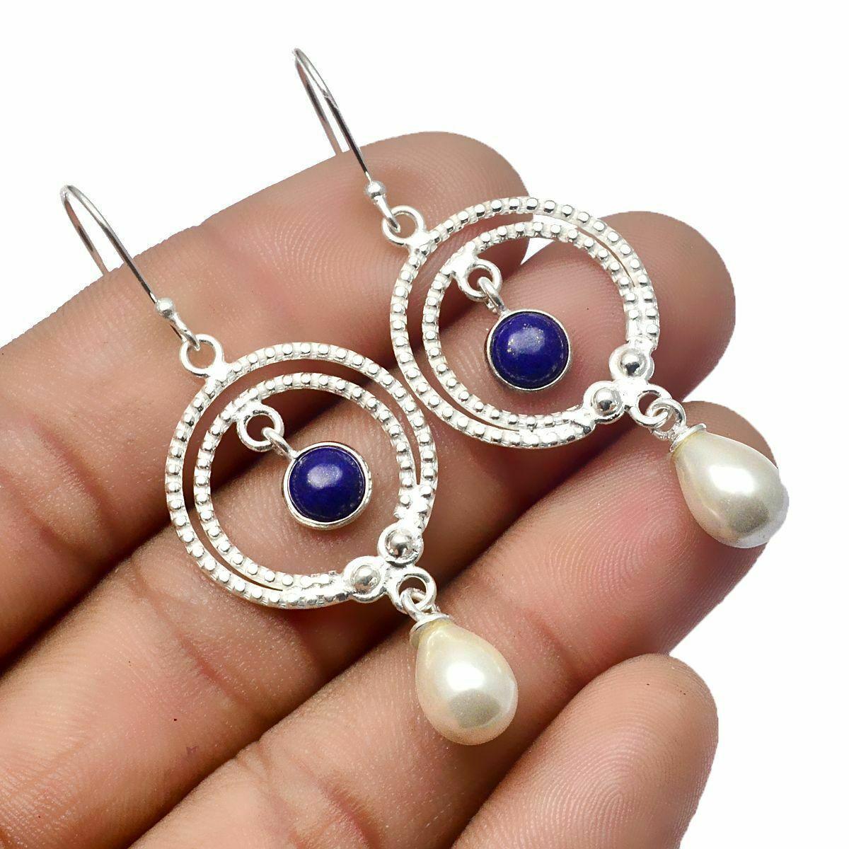 Сережки зі срібла з перлами і лазуритом, срібло 925, 874СЖ