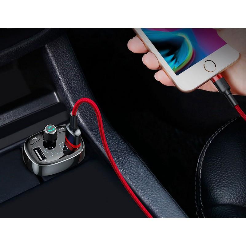 Фм модулятор 2.4A 2USB Baseus MP3 / WMA / FLAC / WAV с автозарядкой Bluetooth трансмиттер Black S-09