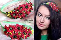 """""""Красные лилии"""" обруч для волос с цветами для девушки."""