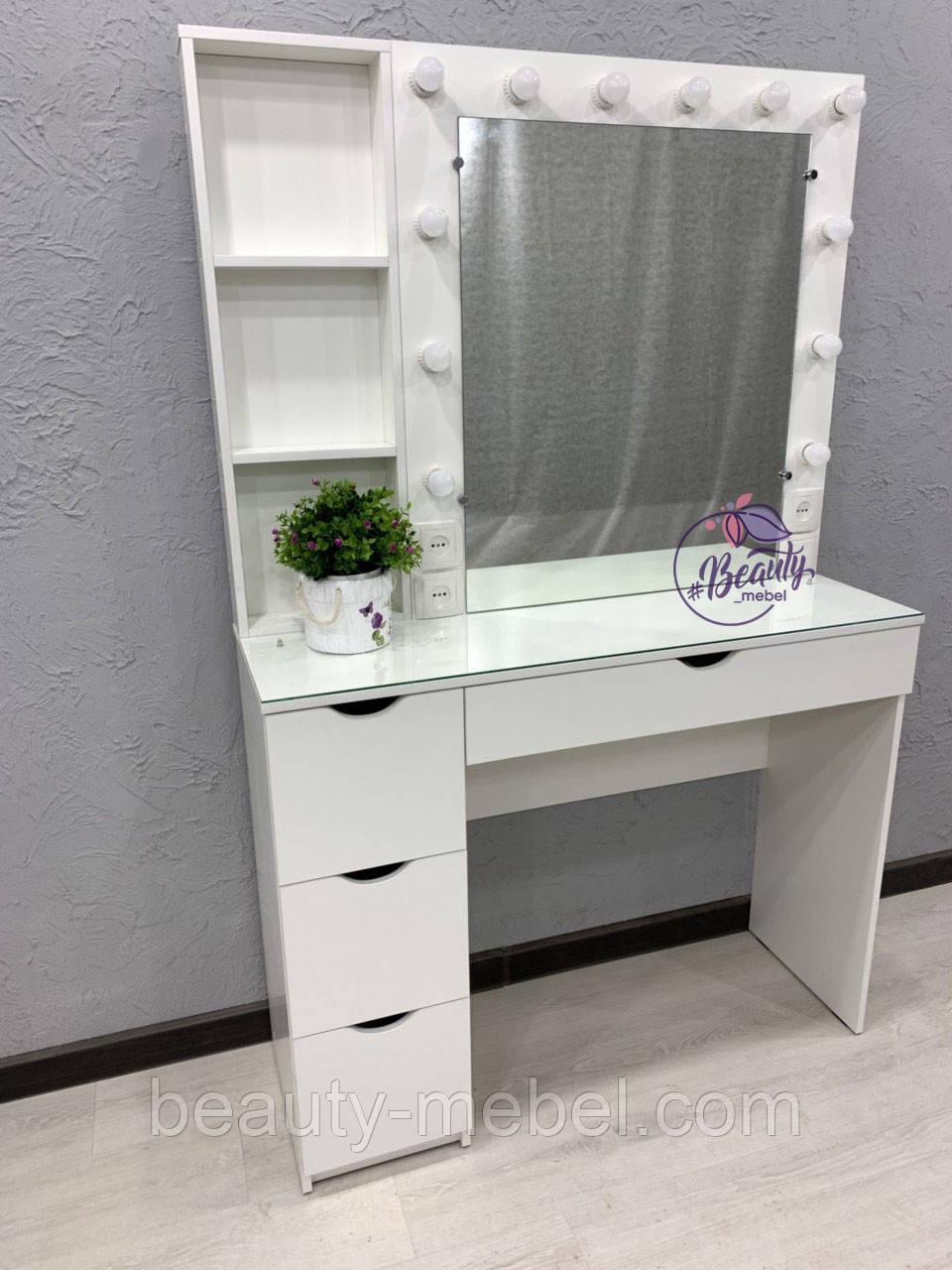 Стол визажиста с зеркалом и полочками сбоку зеркала, стол для бровиста, визажный стол