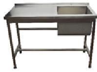 Стол с мойкой с полу объёмным бортом 1200*600*850. Ванна 460х450х300мм справа