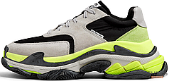 Женские кроссовки Balenciaga Triple S Nylon Grey/Green/Black 536737W09OH1293, Баленсиага Трипл С