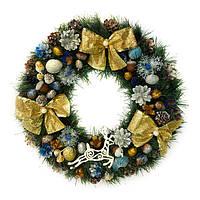 Новогодний венок - Рождественский венок d-36 см - с золотыми бантами