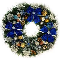 Новогодний венок - Рождественский венок d-45 см - с синими бантами