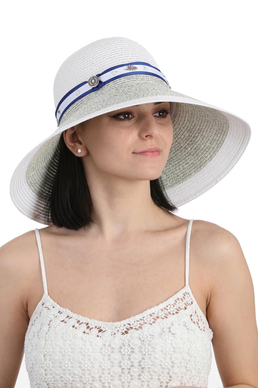 Шляпа с большими полями белая с серым