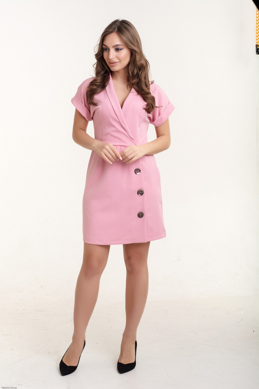 Красивое платье с запахом Диана розовый(44-50)