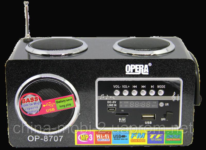 Акустика 6W Opera OP-8707 USB 220V, MP3/SD/USB/FM/AUX черная