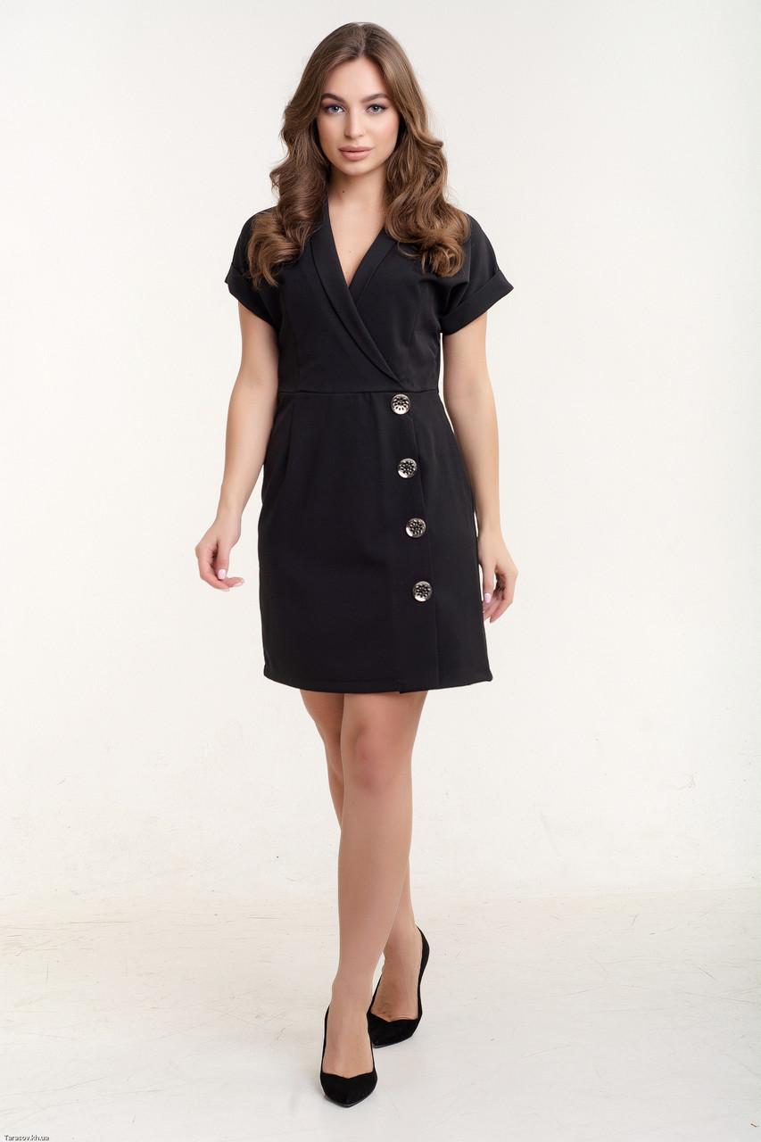 Красивое платье с запахом Диана черный(44-50)