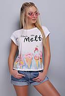 Белая женская легкая футболка с подворотами на рукавх принт Мороженое Melt Стиль-2