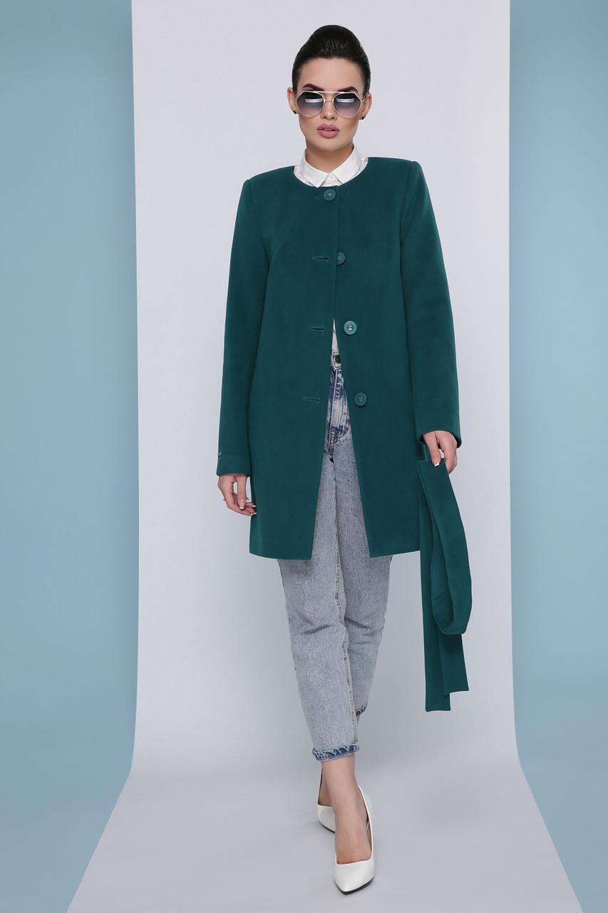 Стильно женское короткое демисезонное пальто кашемировое без воротника П-337-К цвет бутылочный