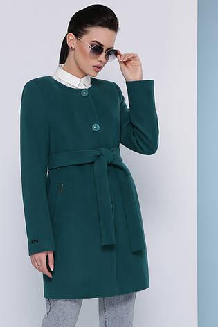 Стильно женское короткое демисезонное пальто кашемировое без воротника П-337-К цвет бутылочный, фото 2