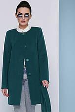 Стильно женское короткое демисезонное пальто кашемировое без воротника П-337-К цвет бутылочный, фото 3