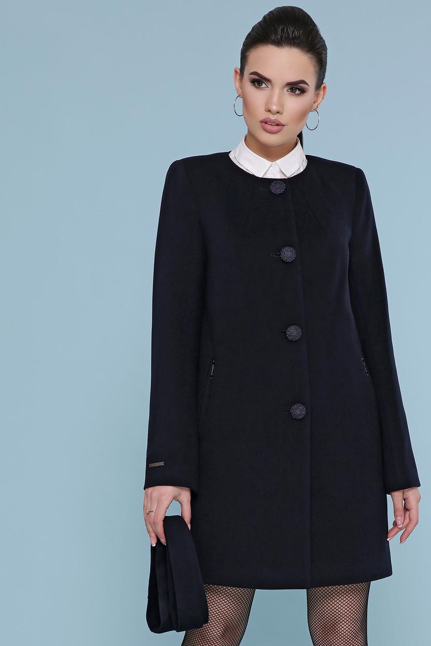 Короткий жіноче демісезонне кашемірове пальто без коміра П-337-До чорне