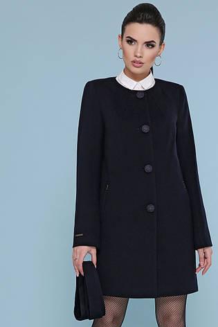 Короткий жіноче демісезонне кашемірове пальто без коміра П-337-До чорне, фото 2