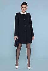 Короткий жіноче демісезонне кашемірове пальто без коміра П-337-До чорне, фото 3