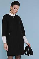 Женское короткое кашемировое пальто с укороченными рукавами П-355 цвет 161-черный