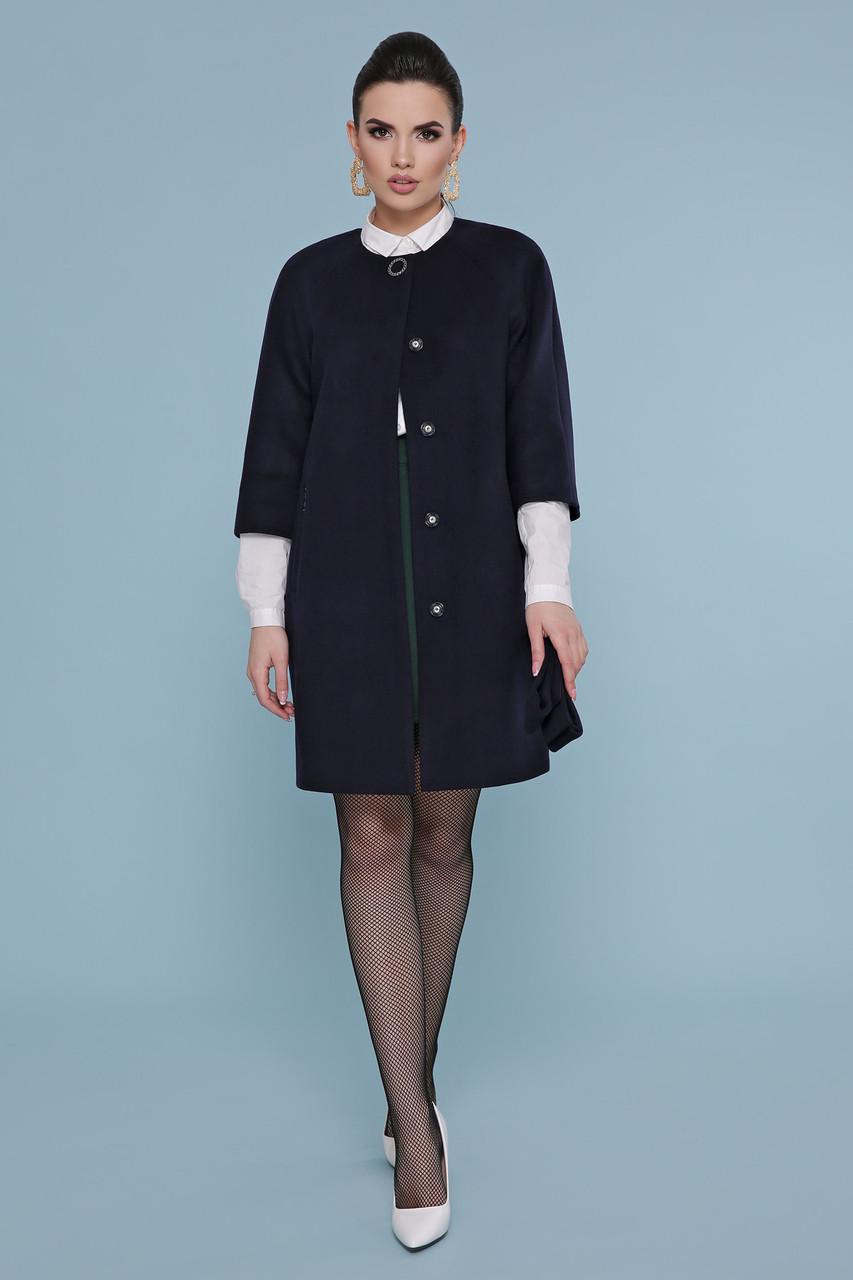 Стильно пряме кашемірове пальто жіноче з рукавами 3/4 П-355 темно-синє