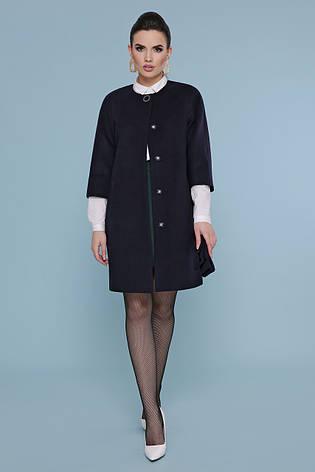Стильно пряме кашемірове пальто жіноче з рукавами 3/4 П-355 темно-синє, фото 2