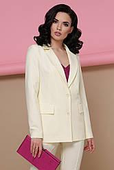 Строгий женский светлый деловой пиджак с карманами классика Патрик цвет ваниль