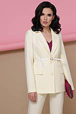 Строгий женский светлый деловой пиджак с карманами классика Патрик цвет ваниль, фото 2