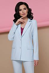 Женский классический деловой пиджак однобортный с карманами Патрик голубой