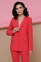 Классический женский офисный пиджак с карманами Патрик коралловый