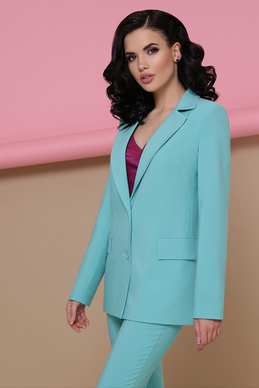 Стильный классический женский пиджак Патрик однотонный мятный