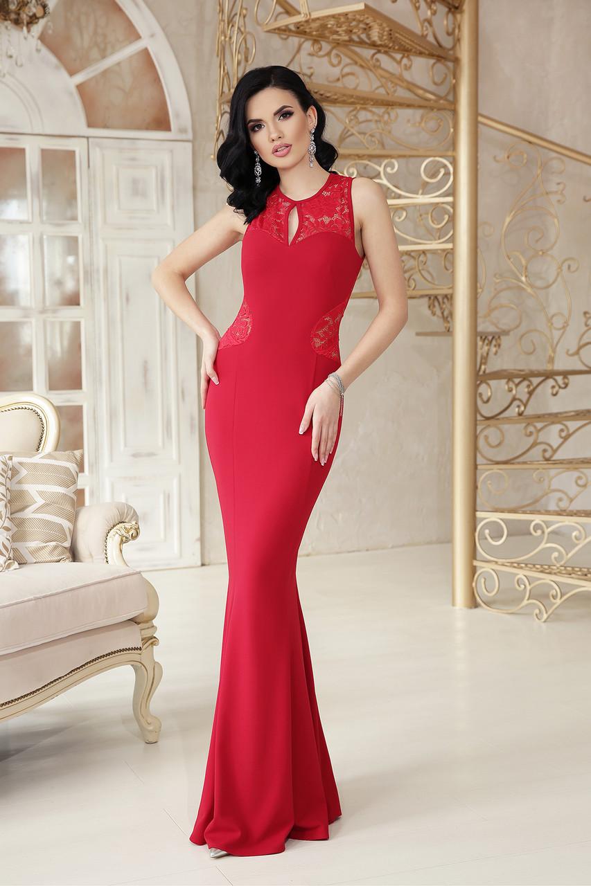 988f2e2c78f Вечернее длинное платье по фигуре с кружевом на спинке Азалия б р красное -