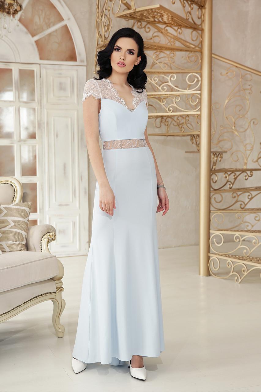 b6522310aa6 Вечернее длинное платье с кружевной отделкой и открытой спиной Алана к р  голубое -
