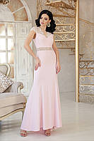 Нарядное длинное вечерне платье с кружевом на поясе и рукавах Алана к/р пудровое