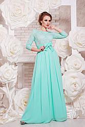 Вечернее длинное платье с кружевом сверху и шифоновой юбкой с поясом-бантом Марианна д/р мятное