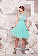 Легкое нарядное платье с гипюровым верхом и пышной шифоновой юбкой Настасья б/р мятное