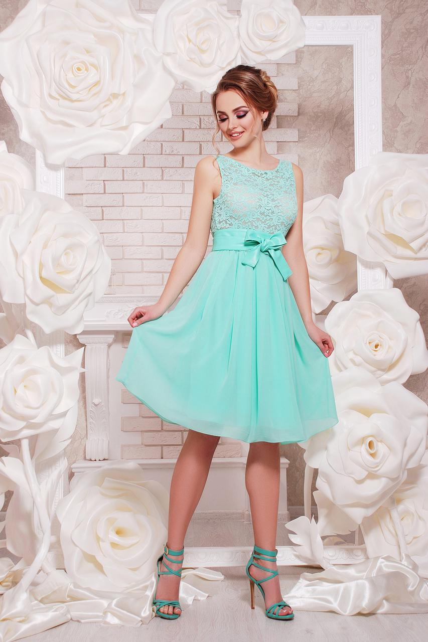 bb114bfd98f Легкое нарядное платье с гипюровым верхом и пышной шифоновой юбкой Настасья  б р мятное -